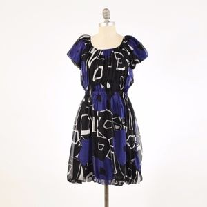Theory Geometric Print Silk Chiffon Mini Dress